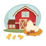 Farm barn or farmer household chicken hatch vector flat design Stock Image