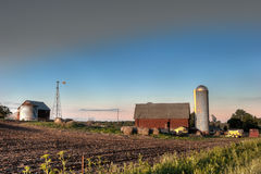 Farm barn and fields Stock Photo