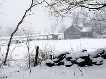 Farm: winter barn fog and snow - h Stock Photo