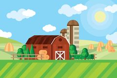 Farm barn and grain storage on agricultural field with haystacks rural landscape. Vector illustration. Summer village farm with wooden barn on farming field Royalty Free Stock Image