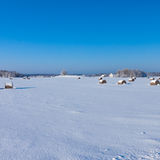 Farm with a barn and horses in winter Stock Photography