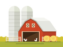 Farm and barn for storing grain in a flat style. stack of hay. Royalty Free Stock Photo