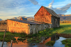 Farm with a barn in the Wasatch Mountains. Stock Photos