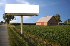 Farm with Barn and white billboard Stock Photography