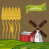 Farm. Barn and windmill field with wheat Stock Photo