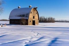 Farm barn in winter, rural Alberta Royalty Free Stock Photos