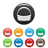 Farm basket icons set color vector illustration