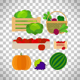 Farm baskets with vegetables and fruits Stock Photography