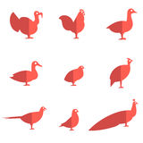 Farm bird flat icons Stock Photography