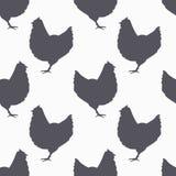 Farm bird silhouette seamless pattern. Chicken Stock Images