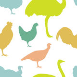 Farm bird silhouettes. Colorful seamless Pattern for printing onto fabric. Farm bird silhouettes. Vector Illustration Royalty Free Stock Images