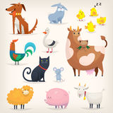 Farm birds and animals. Set of popular colorful vector farm animals and birds Stock Images