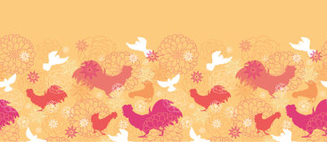 Farm birds horizontal seamless pattern background Stock Photos