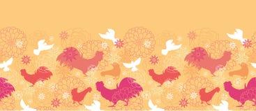 Farm birds horizontal seamless pattern background Stock Photos