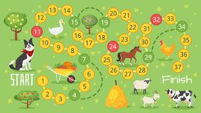 Farm board game template. Vector flat style illustration of kids farm board game template. For print royalty free illustration