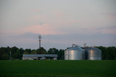 Farm in Borden, SC. With shiney new silios and equipment Royalty Free Stock Photos