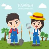 Cute farmer boy and girl in the big farm. royalty free illustration
