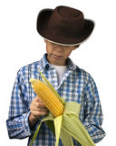 Farm Boy Husking Corn Royalty Free Stock Photos