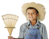 Farm Boy with Rake Royalty Free Stock Photo