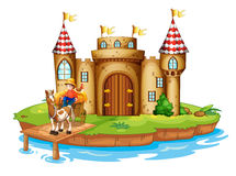 A farm boy riding in his cart at the bridge near the castle Royalty Free Stock Images