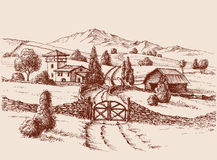 Farm building and entrance gate royalty free illustration