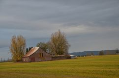 Farm Building, Mid-Willamette Valley, Oregon. This is a farm building under cloudy skies in Oregon`s Mid-Willamette Valley Royalty Free Stock Images