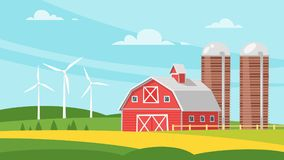 Farm building - rural barn. Vector cartoon style illustration of farm building - barn on rural landscape. Eco wind mills on the background Stock Images