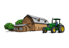 Farm building and tractor Stock Images
