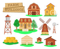 Farm buildings and constructions flat infographic elements Stock Images