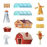 Farm buildings and constructions set. Agriculture industry and countryside life objects. Vector cartoon concept design Royalty Free Stock Images