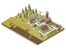 Farm Buildings And Cultivated Fields Illustration. Farm buildings agricultucal vehicles and cultivated fields garden beds and trees tracks and fence isometric vector illustration