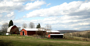 Farm buildings & fields Stock Photos