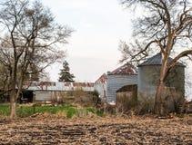 Farm buildings. Grain Bins & Shed in Prairie City Iowa Royalty Free Stock Photo