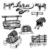 Farm buildings vectors, drawing, house, wood Stock Photo