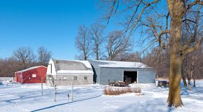 Farm buildings in winter Royalty Free Stock Image