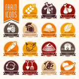 Farm and butcher shop icon set Stock Photography
