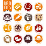 Farm and butcher shop icon set Stock Images