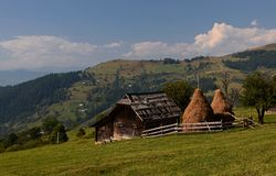 Farm in the Carpathian mountains in Ukraine royalty free stock photo