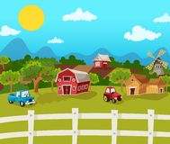 Farm Cartoon Background Stock Images