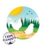 Farm cartoon chicken vector illustration. Farmer Eco label design Stock Photo