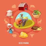 Farm Cartoon Colored Composition Stock Photos