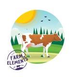 Farm cartoon cow illustration. Farmer domestic animal icon label Stock Photo