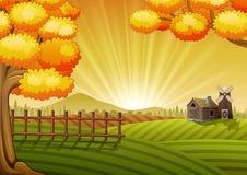 Farm cartoon landscape Royalty Free Stock Image