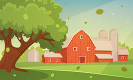 Farm Cartoon Landscape Stock Image