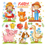 Farm cartoon set with animals. Royalty Free Stock Photo