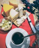 Farm cheese, cup of coffee Royalty Free Stock Photography