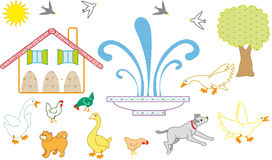Farm. For children with stylized animals Stock Photography