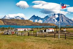 Farm in Chile. Picturesque Farm in Chile with mountains in the background stock photo