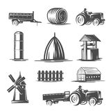 Farm collection. Black and white illustration. royalty free illustration