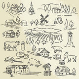 Farm collection. Hand drawn illustration - farm collection Stock Images